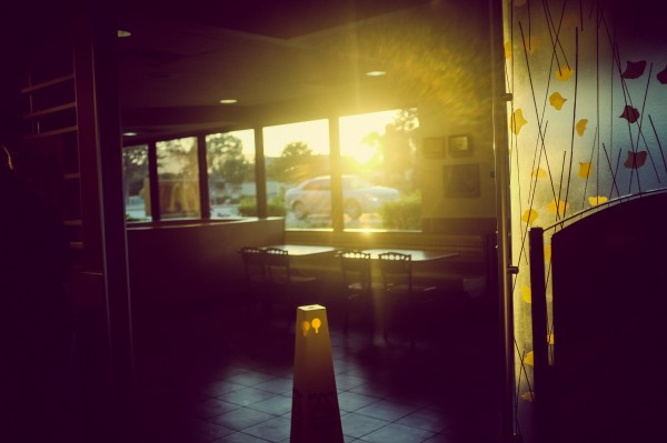 sunset through the McDonald's window