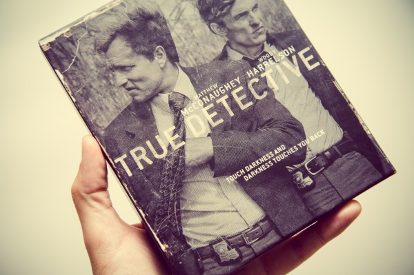 me holding copy of True Detective box