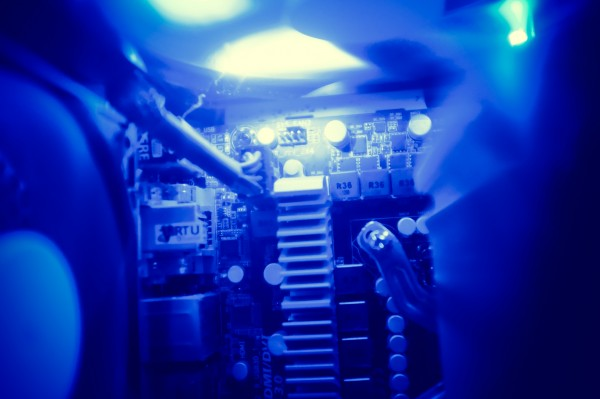 gaming pc interior with blue light